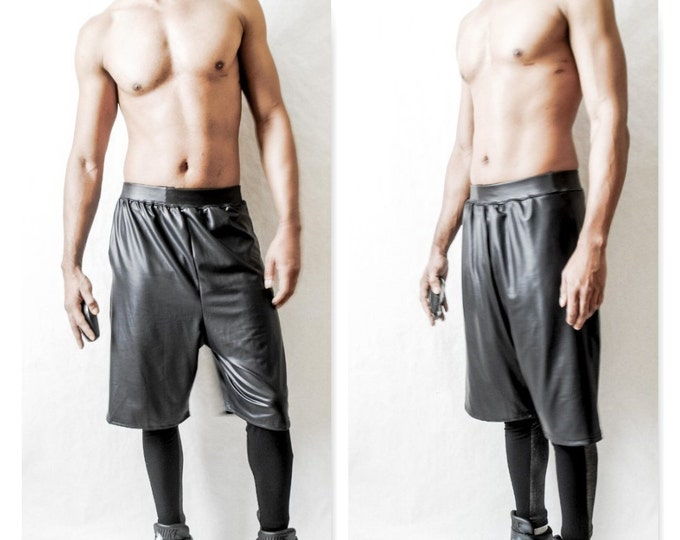 Drop Crotch  Coated Jersey Short Leather Like Look (Stretchy)