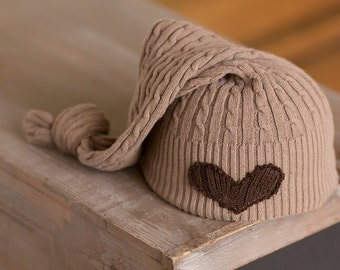 Newborn Hat Upcycled Newborn Hat Neutral Light Brown Hat with Heart, Newborn Photography Prop Newborn Boy Hat Newborn Girl Organic Newborn