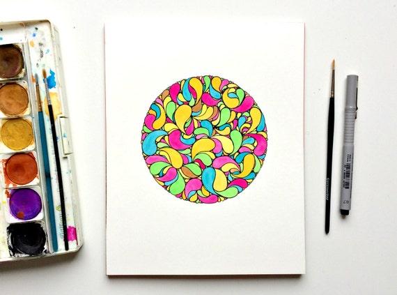 Aruba - Original watercolour painting, watercolor art pink teal yellow green, circle doodle, pen drawing and watercolor, drops doodle