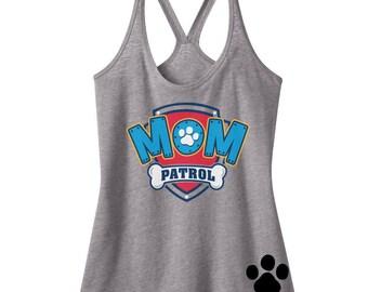 Custom PAW PATROL MOM birthday Tank Mom Patrol Shirt Paw Patrol Inspired Birthday number Shirt with Name on Back