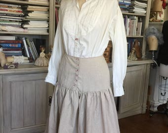 MADE TO ORDER Vintage Antique Victorian Edwardian Petticoat Skirt Boho Style Organic Linen Hand Embroidery Steampunk Gypsy Antique buttons