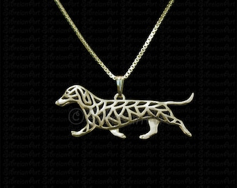 Dachshund movement - Gold pendant and necklace