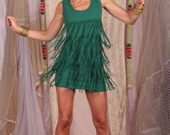 Fringe Boho Dress / Hippie Party Dress / Fringe Dress / Green Short Dress / Stretchy Dress / The 20's Dress / Cotton Jersey Dress / Dress