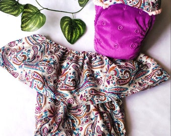 PANDORA PAISLEY - one size nappy and romper set