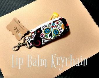 Sugar Skulls Lip Balm Keychain