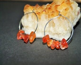 Carnelian Earrings - Carnelian Gemstone chip Hoop Earrings - Carnelian Jewelry - Orange Earrings