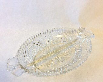 Vintage Crystal Serving Dish 1950's Fifties Pickle Tray Olive Tray