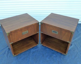 Henredon Campaign Nightstands Pair Of Mid Century Modern Brass Pull One  Drawer Side Tables Scene One