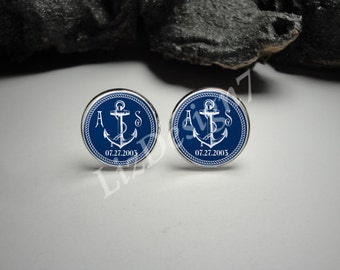 Personalized Navy Rope Anchor Cuff Links, Initials and Date Anchor Cuff Links, Wedding Cuff Links, Personalized Anchor Cufflinks, Men Gift