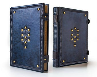 """7.5"""" x 10.2"""" - Tree of Life Leather Journal - Book of Shadows, Grimoire, Blank Book, Unique Gift, Kabbalah magic, Magician book, Esoteric"""