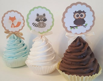 Woodland cupcake toppers animal forest food picks woodland birhtday party decorations