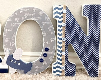 Custom Nursery Letters, Baby Boy Nursery Decor, Personalized Wooden Letters, Wall Letters, Hanging Letters, Airplane Baby Shower