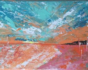 Original Landscape Acrylic Painting Impressionist Wall Fine Art Surreal Mini Canvas aqua orange pink 5 x 7 home decor