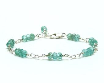 Aqua Apatite Gemstone Bracelet, Sterling Silver - Lustrous Sea Green Chain Link Bracelet - Dainty Gemstone Bracelet