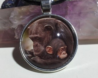 Mother and Baby Chimpanzee Necklace + Free Shipping Worldwide, chimp jewelry, chimp necklace, mummy baby animal jewelry, mummy and baby love