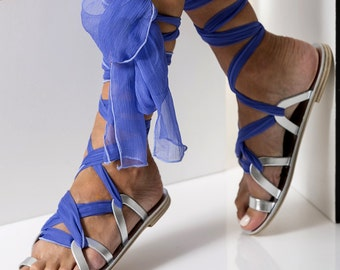 "Lace up sandals, Formal leather sandals with silk laces,, Custom Color ""Ophelia"" NEW SS17 - Free standard shipping"