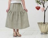 Girls skirt Long linen skirt Girls maxi skirt Girls clothes Natural striped linen skirt Toddler girl skirt Birthday party