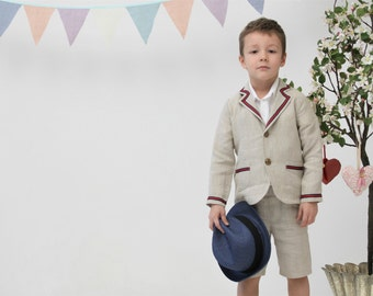 Boys linen suit Boy linen blazer and shorts Boys linen jacket Ring bearer outfit Boys clothes Ring bearer outfit Page boy outfit