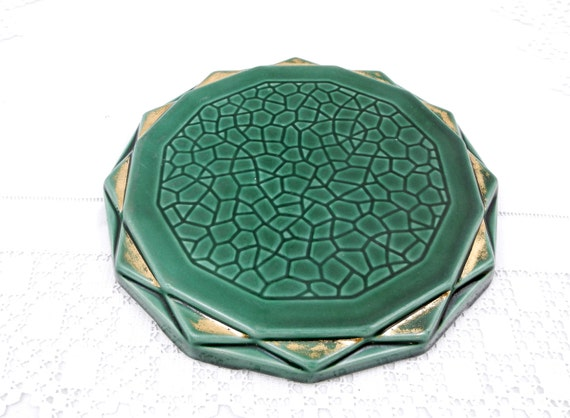 Trivet  Hot Plate  Heat Mat Antique Art Deco Circa 1930s Made of China Dark Green Glaze with Shabby Gold, Kitchenware, French Decor, Vintage