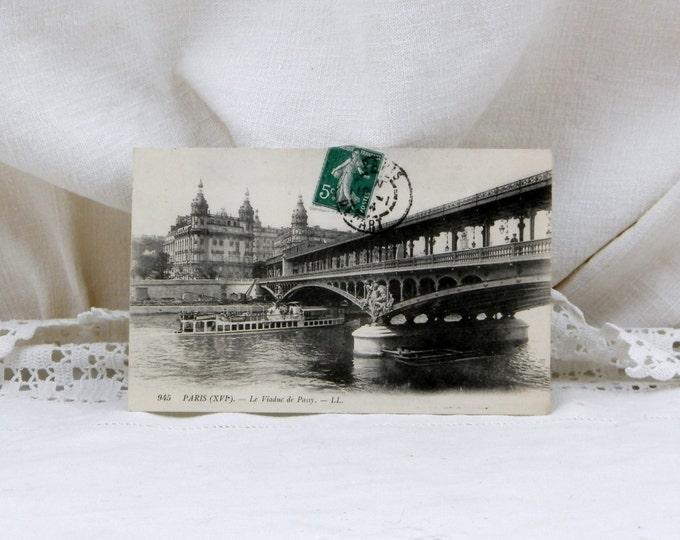 "Antique Black and White French Postcard The ""Viaduc de Passy"" Bridge over the River Seine Paris, French Decor, Retro, Vintage, Parisian"