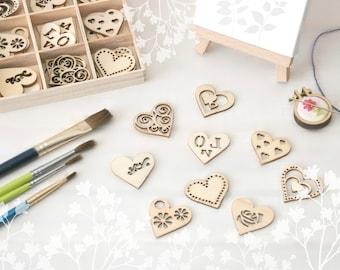 Heart Die Cuts - Wooden Die Cuts - Heart Wood Shapes - Die Cuts - Laser Die Cut - DIY Scrapbook - Kids Crafts - Heart Shapes - Wooden Hearts