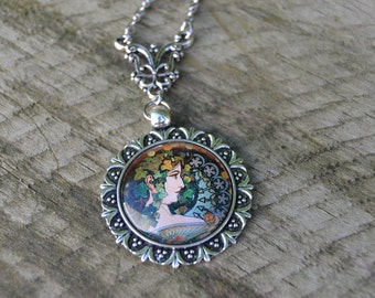 Alphonse Mucha art necklace silver, Art Nouveau cameo pendant, cameo jewelry, mucha jewelry