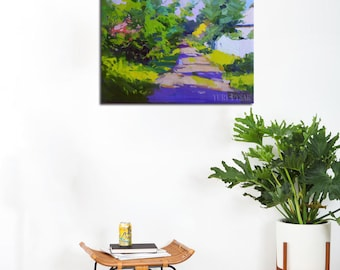 Modern landscape painting, Summer painting landscape impressionist art oil painting canvas art ready for hanging