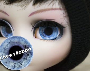 12, 13 & 14mm Glass Realistic Blue Eyechips for Pullip Blythe Taeyang Dal Isul - handmade Eye Chips
