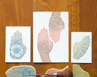 Hands - hand printed greeting cards - set of 3