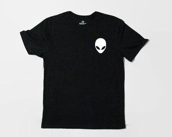 Pocket Tee Alien Shirt For Women, T Shirt for Teens, Teenage Graphic Tee, Alien Head T-Shirt, Tumblr Shirt