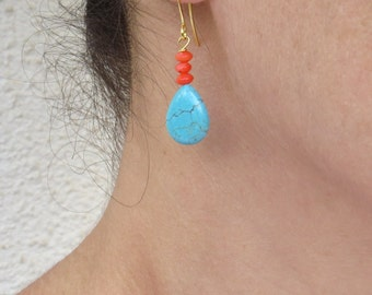 Summer SALE - Turquoise and coral earrings, Pink coral earrings, Turquoise drop earrings