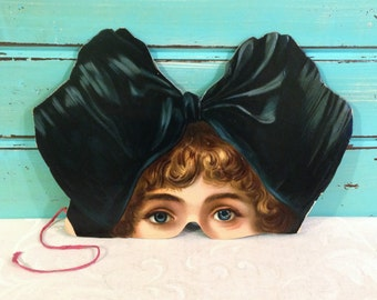 Lady Victorian Paper Mask, Late 1800s Antique Halloween Mask, Girl with Blue Bow or Blue Hat, Embossed Cardstock, Masquerade Mardi Gras