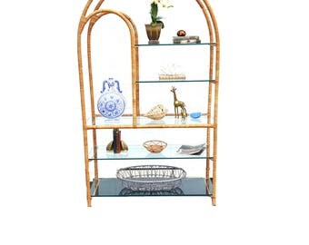 Vintage Rattan Etagere ~ Arched Mid Century Five Tier Wrapped Wicker Wall Unit / Bookshelf With Glass Shelves ~ Bohemian Chic Home Decor