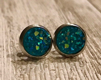 Stud Earrings, Silver Stainless, 8mm, Non-Tarnish, Teal Green,Aqua, Easter Gift, Bridesmaids Gift