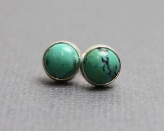 Turquoise Stud Earrings, Turquoise Post Earrings, Turquoise Earrings, 6mm Turquoise Earrings, Turquoise Studs,Kathy Bankston, Earrings