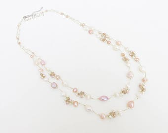 White pink peach freshwater pearl necklace with crystal on gold silk thread, double strands necklace, lone necklace
