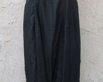 Vintage 1960's black raw silk sleeveless maxi dress boho glam formal