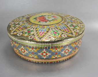 Made in Holland Vintage Round Metal Tin Embossed Multi Color Floral Geometric Pastel