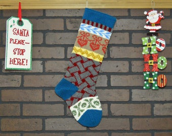 Teal Christmas Stocking, Hand Knit Basket Weave in Grey, Fair Isle Stocking, Colorful Stocking, Can be Personalized, Baby Gift, Wedding Gift