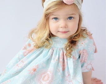Blue Cream Pink Floral Print Dress Pink Polka Dot Bow - Baby Toddler Girl