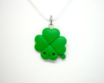 Four leaf clover lucky polymer clay charm - stitch marker - necklace