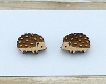 Wood Cute Hedgehog - Laser Cut Stud Earrings - Wooden earrings - Woodland animal jewelry - Australian Seller