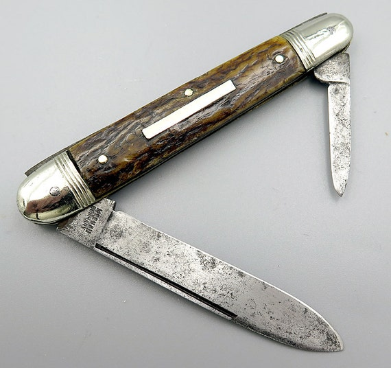 Vintage Meehan Germany, 4.25 closed, big stag Knife. 1900's
