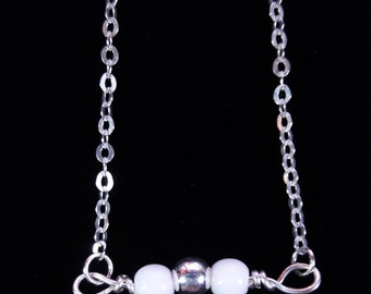 White Czech Glass Bar Necklace (w/ Silver Bead)