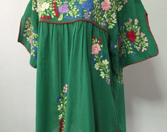 XXL Embroidered Blouse Mexican Cotton Tops In Green,Plus Size Blouse, Plus Size Tops