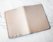 Leather Passport Cover Travel Wallet in Natural Nude Leather, Minimalist Genuine Leather Passport Holder that Patinas with Age Personalized