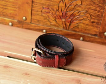 Red On Black Leather Bracelet With Buckle