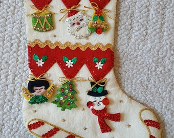 Vintage Bucilla Stocking AWESOME Ornaments Merry Christmas