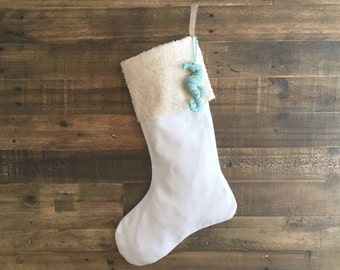 Beach Stocking - Ivory Sequin -Cotton Stocking, Linen Stocking, Christmas Stocking, Neutral Stocking