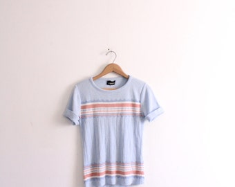 Pastel Stripe Pattern 70s Sweater